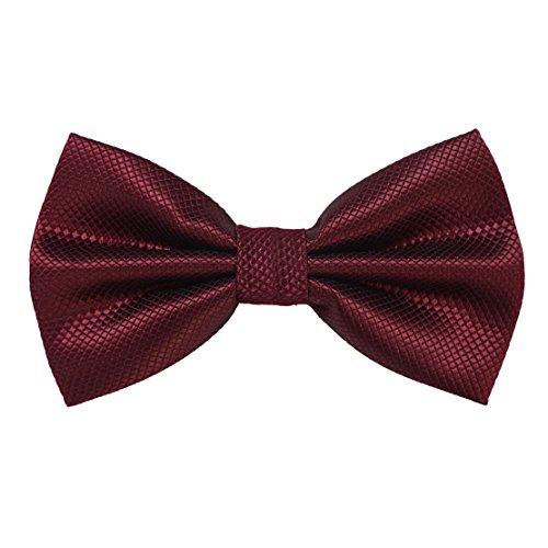 Enjoymore da uomo Fashion Solid Color Bowties festa di nozze Pre-legato Bow tie-17colori Maroon Taglia unica