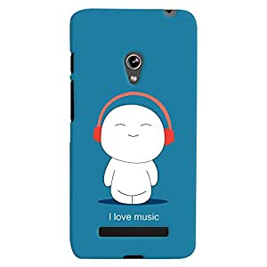 ColourCrust Asus Zenfone 5 Mobile Phone Back Cover With I Love Music - Durable Matte Finish Hard Plastic Slim Case