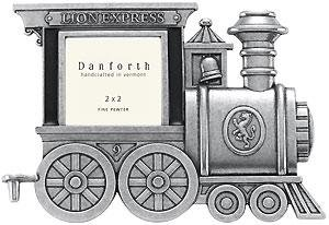 Locomotive collectible train car frame in fine pewter - First At SendAFrame
