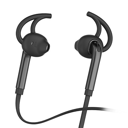 Honstek X7 Auricolari In-Ear auricolari delle cuffie con microfono e controllo del volume, di sport che funziona sweatproof filo Cuffie con bassi potenti e 3.5mm Jack(Nero)