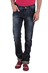 Routeen Blue Distressed Mid Rise Slim Fit Branded Cotton Jeans for Men