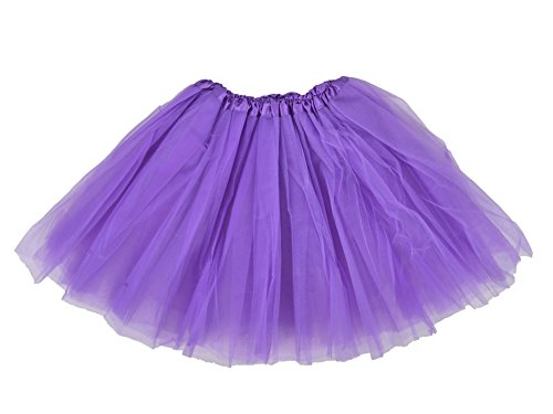 Simplicity Women's Classic Elastic, 3-Layered Tulle Tutu Skirt, Purple