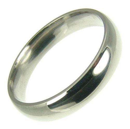 Men's Platinum Wedding Ring, Light Court Shape, 4mm Band Width