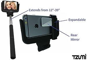 tzumi shutterstick universal selfie stick with bluetooth wireless shutter function. Black Bedroom Furniture Sets. Home Design Ideas