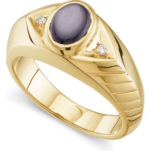 14K Yellow Gold Genuine Black Star Sapphire and Diamond Gents Ring: 8X06 mm Size: 13