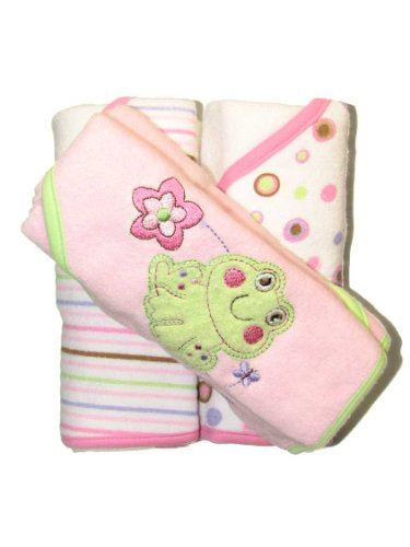 Triboro Just Born 3-Pack Of Hooded Towels - Pink Frog front-693657