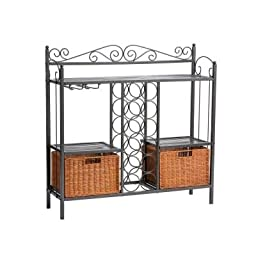 Home Decorators Collection KA9803 Celtic Gunmetal 36-1/2 in. W Baker\'s Rack with 12-bottle Wine Rack and Glass Holders, Gray