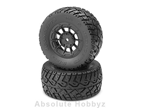 JConcepts G-Locs Pre-Mounted SC Tires w/Black Hazard Wheel (Yellow) (2) (Slash/Rear) (G Locs compare prices)
