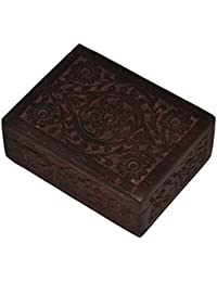 Marubhumi Mother's Day Gift Classic Natural Wooden Keepsake Box (6 X 5) Hand Carved Organizer With Velvet