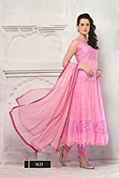 JJR Store Designer Pink Net Embroidered Dress material