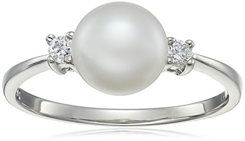 Bella Pearl and Cubic Zirconia Solitaire Ring, Siz…