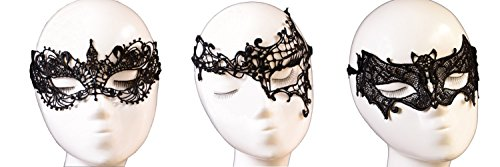 [Cohaco Women's Lace Sexy Halloween Nightclub Dance Ball Eye Mask Veil Bondage (black(swan,one] (White And Black Swan Halloween Costumes)