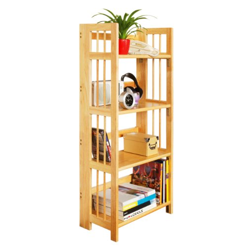 Premier Housewares 115 x 54 x 30 cm Rubberwood 4-Tier Folding Shelving Unit