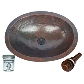 "SimplyCopper 19"" Oval Copper Undermount Bathroom Sink with Drain and Renaissance Wax"