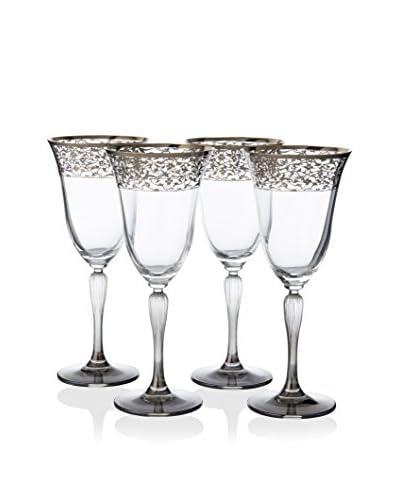 A Casa K Set of 4 Crystal & Platinum 8.5-Oz. Water Goblets, Platinum
