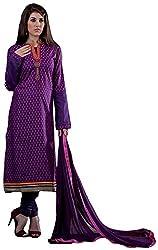 Renisha Fashion Women's Cotton Unstitched Salwar Suit (Purple)