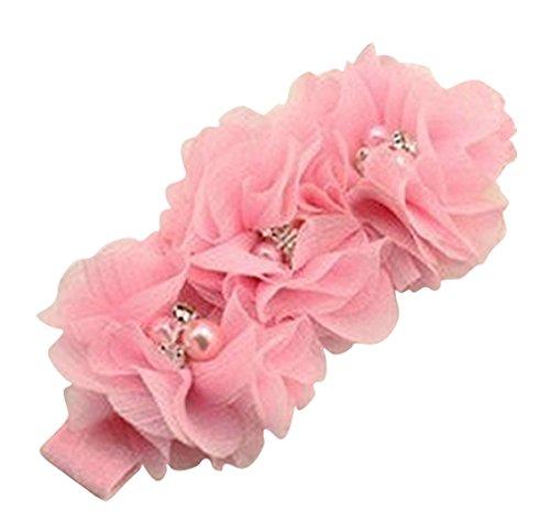 PinkXenia Light Pink Chiffon Flower Pearl Embellished NewBorn BabyGirl Soft Elastic Headband