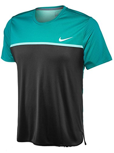 Nike Mens Dri-Fit Challenger Crew Tennis T-Shirt Teal/Black 800248-101 (X-Small)