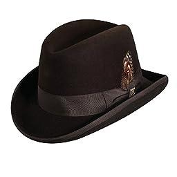 Stacy Adams Men\'s Wool Homburg Comfort Hat M Brown
