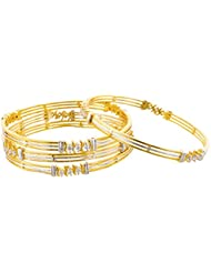 Arnav Creations Silver And Gold Metal Bangle Set For Women - Set Of 4 (Size: 2.6, ACB0030)
