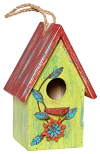 Wilco Imports Yellow Decorative Bird House with a Red Roof