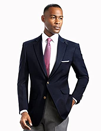Men's Elegant Modern 2 Button Notch Lapel Blazer - Many Colors (34 Short, Navy)