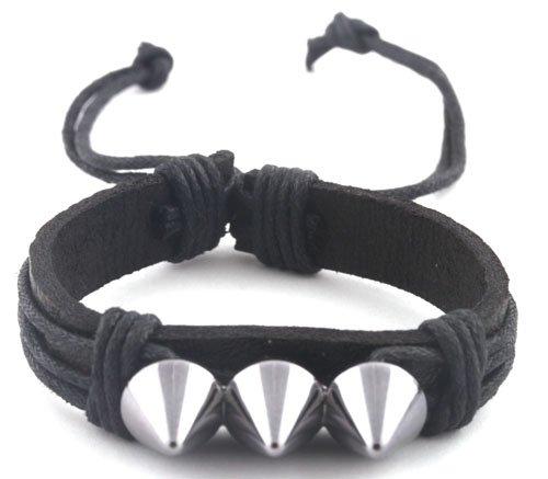 Black with Dark Silver Three Spikes String Adjustable Stretch Bracelet