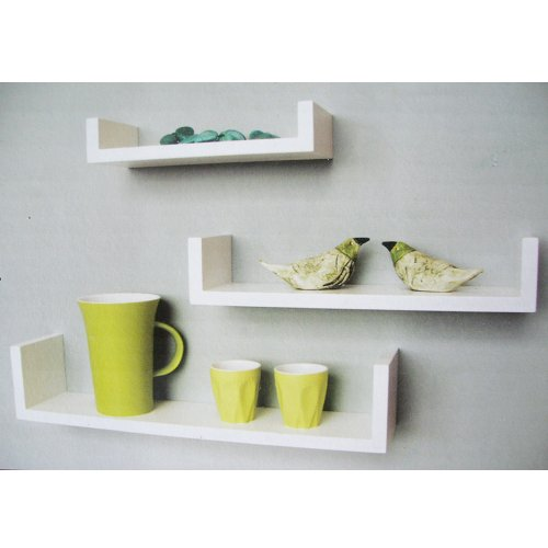 TRIO - Wall Mounted Storage / Display Shelves - Set of 3 - White