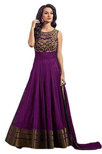 Clickedia Women's Net Dress Material (Boat Neck Purple suit_Purple)