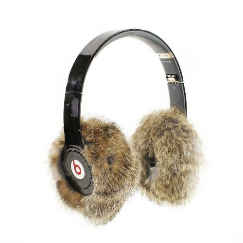 Earmuffies - Fur Earmuff Covers For Headphones - Large Rabbit Heather (Fits Beats Beats Studio/Executive And Other Popular Headphones)