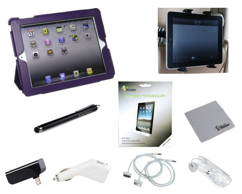 Bundle Monster 10-in-1 Apple iPad 2 Accessory Combo with Synthetic Leather Kickstand Cover Case (Screen Protector, Travel + Car Charger, Car Mount, Stylus, Etc) - Purple