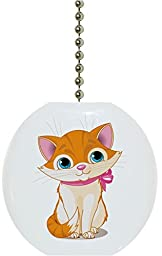 Carolina Hardware and Decor 1829F Cute Kitten Pink Ribbon Animal Ceramic Fan Pull