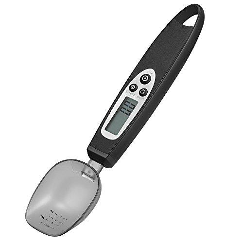 Cuillère balance digitale électronique JERRYBOX, cuillère pour mesures culinaires avec ecran d'affichage LCD, de 0.5g à 300g (Noir)