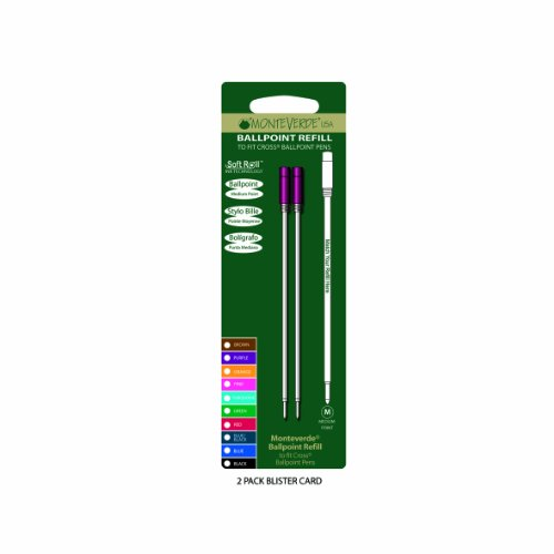 Monteverde: 2 Recharges Bille Soft Roll Rose Compatible Cross, Pointe: M, Livrées en Blister.