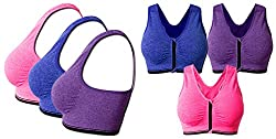 Golden Girl PACK OF -3 Intense Running Yoga with Front Closure Padded Sports Bra