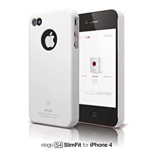 elago S4 Slim Fit Case for iPhone 4 (Soft Feeling) - SF Snow White + Logo Protection Film included