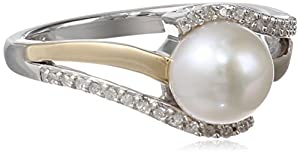 S&G Sterling Silver and 14k Yellow Gold 7mm Freshwater Cultured Pearl and Diamond Ring (0.07 cttw, I-J Color, I3 Clarity), Size 5