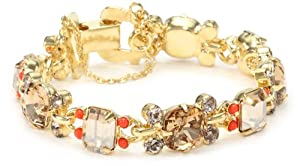 "Sorrelli "" Andalusia"" Crystal Golden Shadow and Colorado with Coralline Link Bracelet"