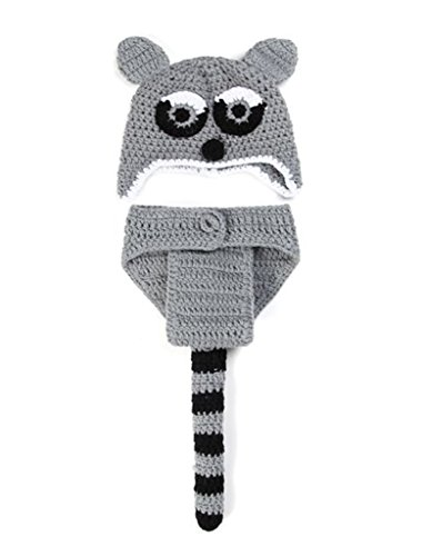 Tortor 1Bacha Raccoon Infant Baby Costume Knit Crochet Photo Prop