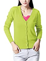 Lady Long Raglan Sleeve Single Breasted Casual Knit Cardigan