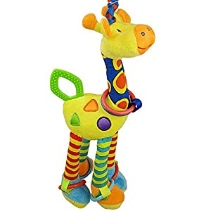 Cute giraffe baby toys ELC big stroller hanging bed hung with rattles BB device ring paper teether baby toys plush toys retail