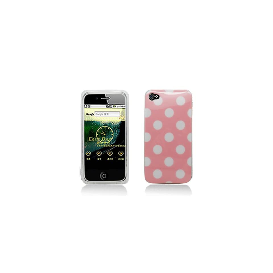 Pink with White Polka Dot Design Soft Tpu Silicone Skin Gel Cover Case for Verizon At&t Sprint Apple Iphone 4 4s + Lcd Screen Guard + Microfiber Pouch Bag