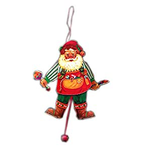 Wooden pull string jumping jack workshop santa christmas tree ornament toy - String ornaments christmas ...
