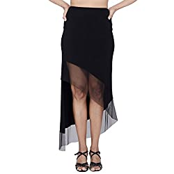 Danzon Women's Asymmetric Skirt (SLS90129_Black_Small)