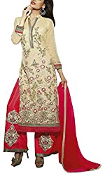 Sara Fashion Women's Georgette Unstitched Dress Material (Beige and Pink)