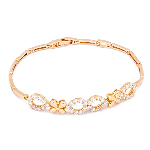 Romantic Time Summer Flower Four Petals Diamond Studded Rose Gold Plated Tennis Bracelet
