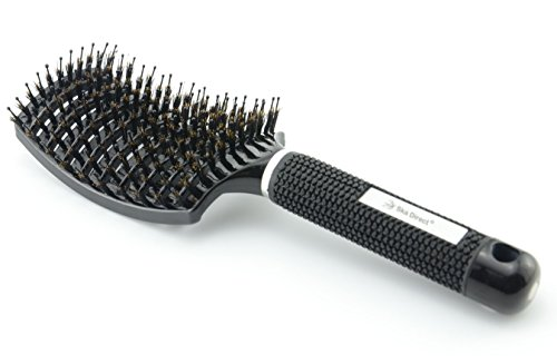 Ska Direct® Boar Bristle Brush Best at Detangling Thick Hair Vented For Faster Drying - 100% Professional Natural Boar Bristles Promotes Healthy Oil Distribution (Curved Hair Brush compare prices)