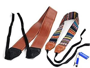 Bluecell SW-605 Classic Brown color PU leather and LC-006A Multi Color Digital SLR Camera Camcorder Neck Shoulder Straps Belt for Canon Nikon Samsung Olympus Sony Fujifilm Panasonic