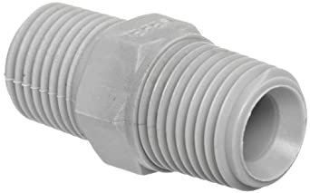 Tefen Nylon 6/6 Pipe Fitting, Hex Nipple, Gray, NPT Male