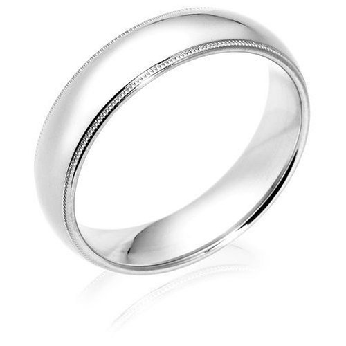 Platinum 6mm Comfort Fit Milgrain Men's Wedding Band
